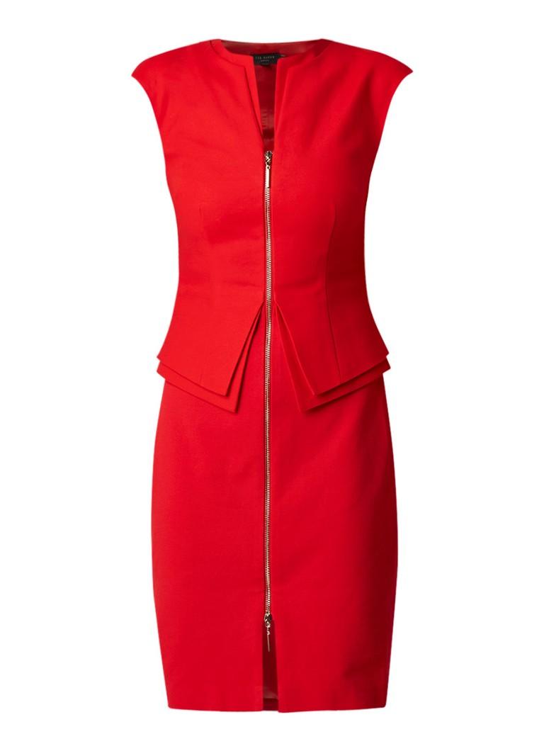 Ted Baker Kwyli kokerjurk met peplum en contraststof rood