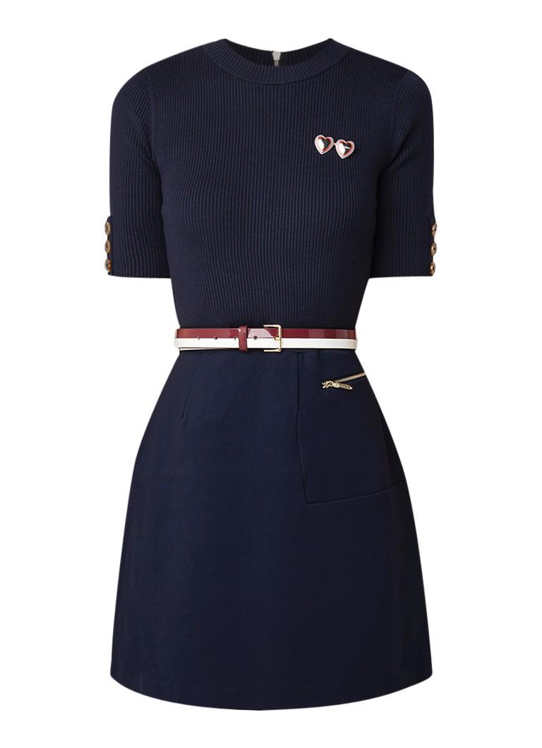 Ted Baker Elsbeth gebreide A-lijn jurk met ceintuur donkerblauw
