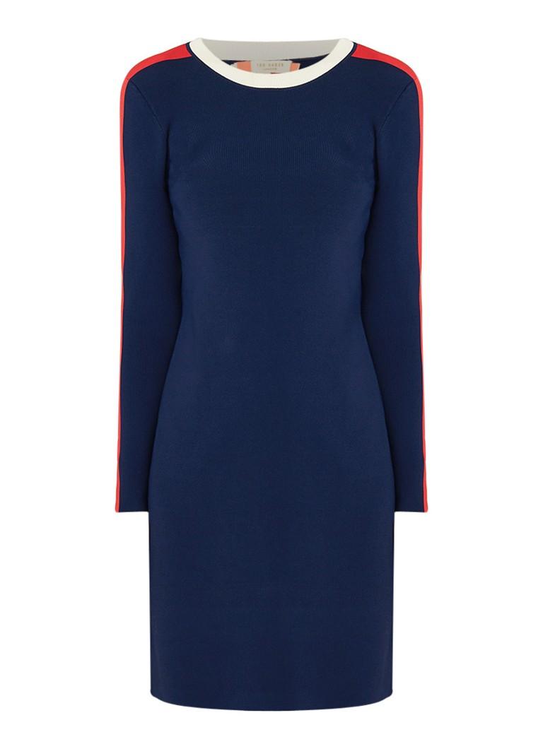 Ted Baker Palit fijngebreide midi-jurk met contrastbies donkerblauw