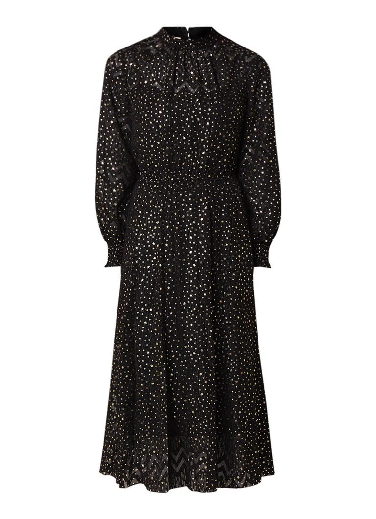Ted Baker Elsiie midi-jurk met metallic sterrenprint zwart