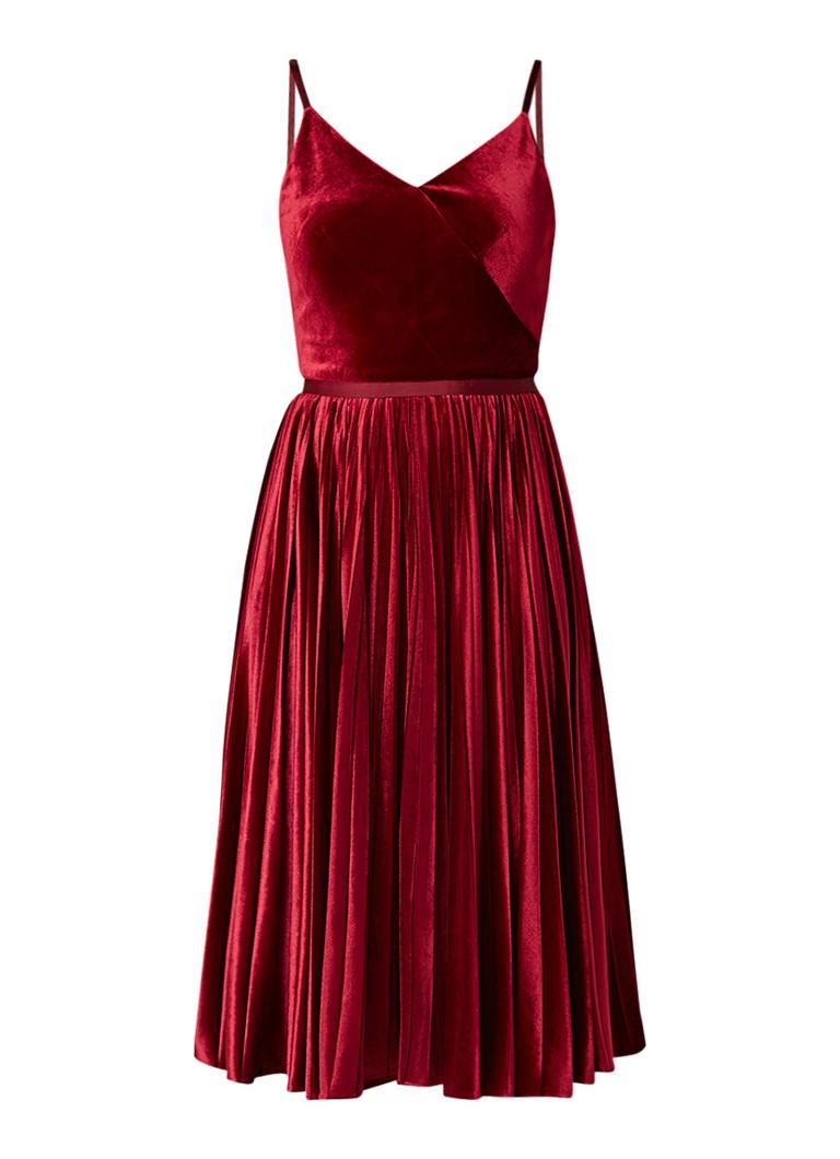 Ted Baker Maaron A-lijn jurk van fluweel met plissé bordeauxrood