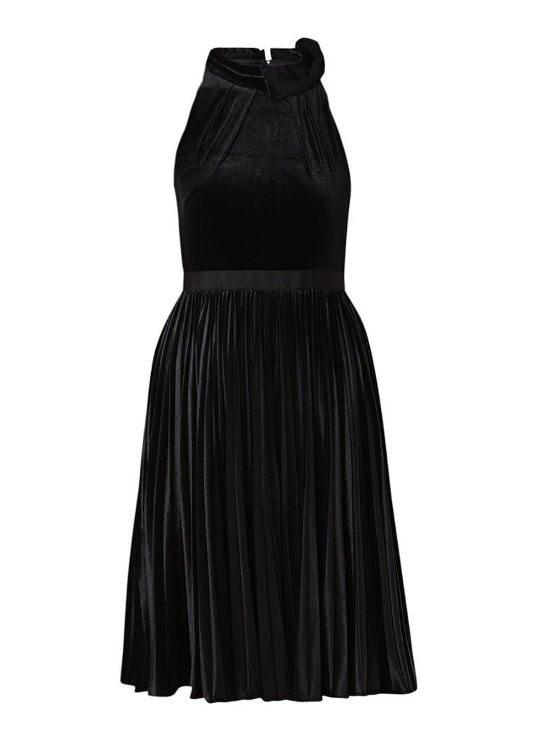 Ted Baker Cornela A-lijn jurk van fluweel met plissé zwart