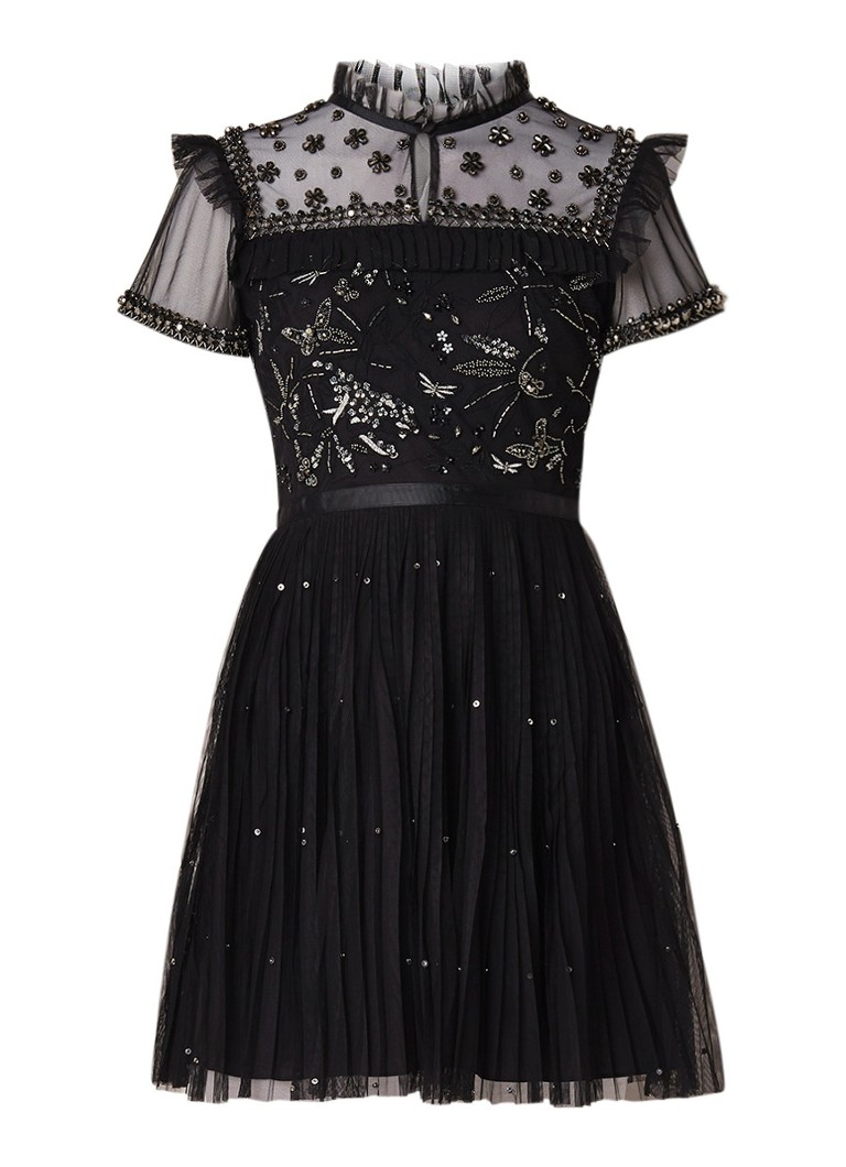 Ted Baker Vereti mini-jurk met kralendecoratie en plooirok zwart
