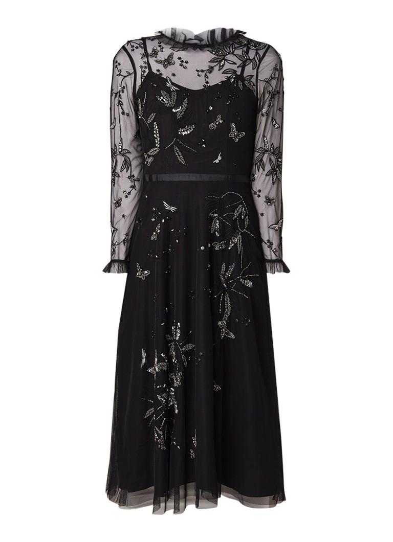 Ted Baker Vello midi-jurk van tule met pailletten zwart