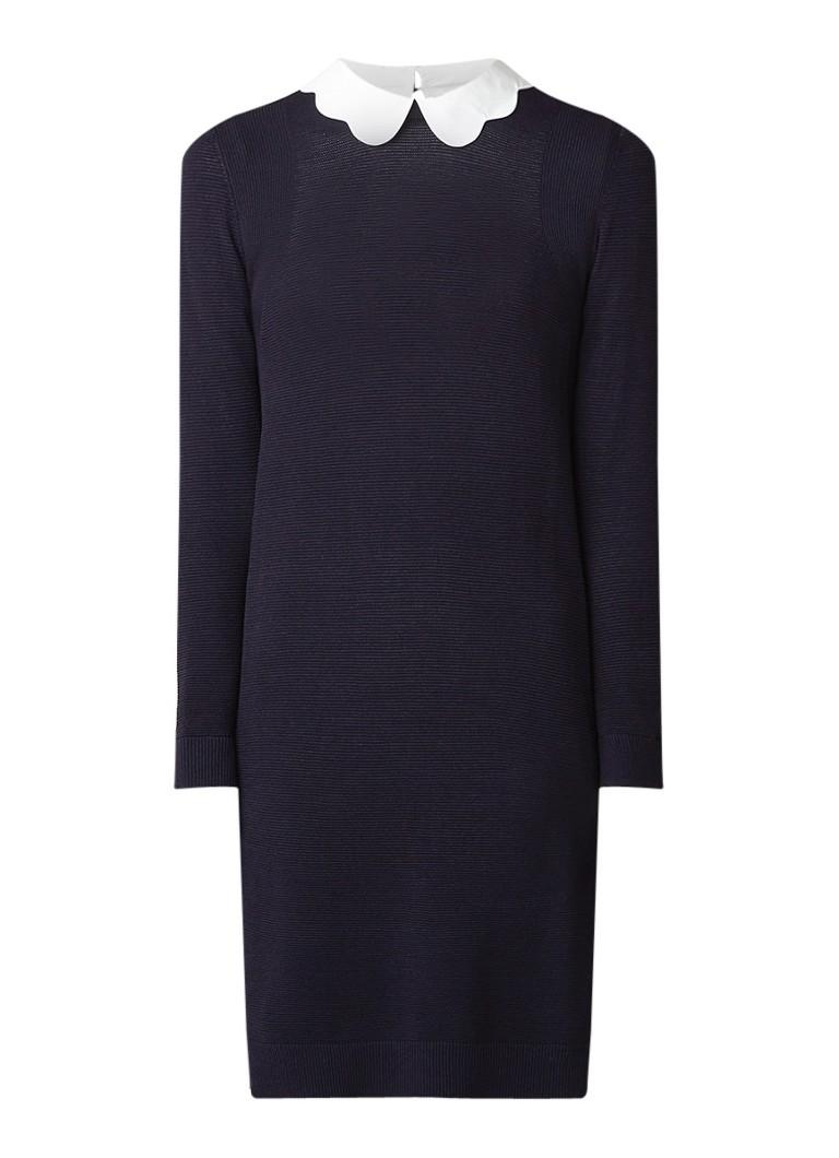 Ted Baker Rosalo fijngebreide jurk met contrasterende boorden donkerblauw