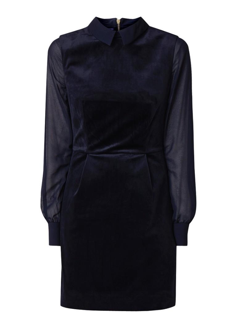 Ted Baker Lourah mini-jurk van fluweel met semi-transparante mouw donkerblauw