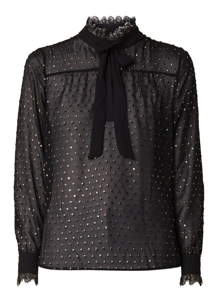 Ted Baker Riiaa blouse met metallic stippendessin en strikkraag