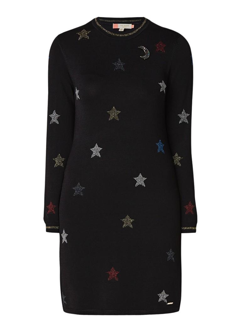 Ted Baker Fijngebreide jurk met sterrendessin van lurex zwart