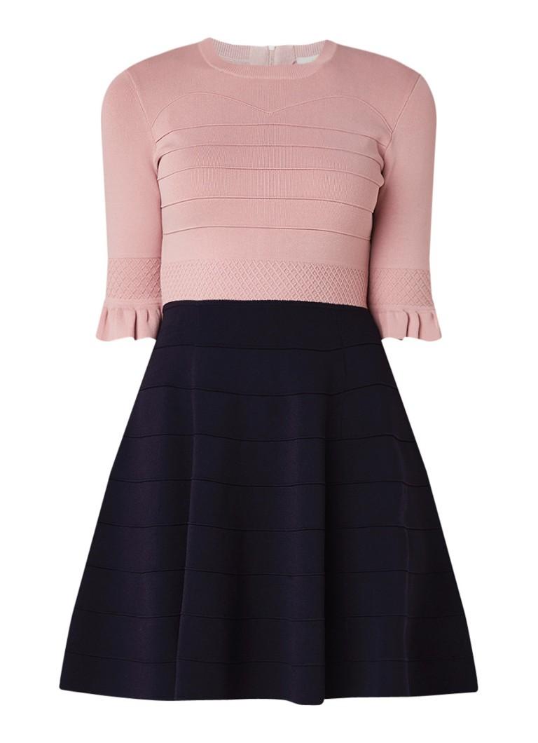 Ted Baker Dyana A-lijn jurk met volantmouw oudroze