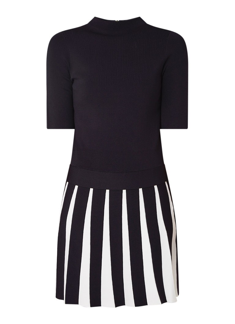 Ted Baker Hethia ribgebreide A-lijn jurk met ingeweven dessin donkerblauw