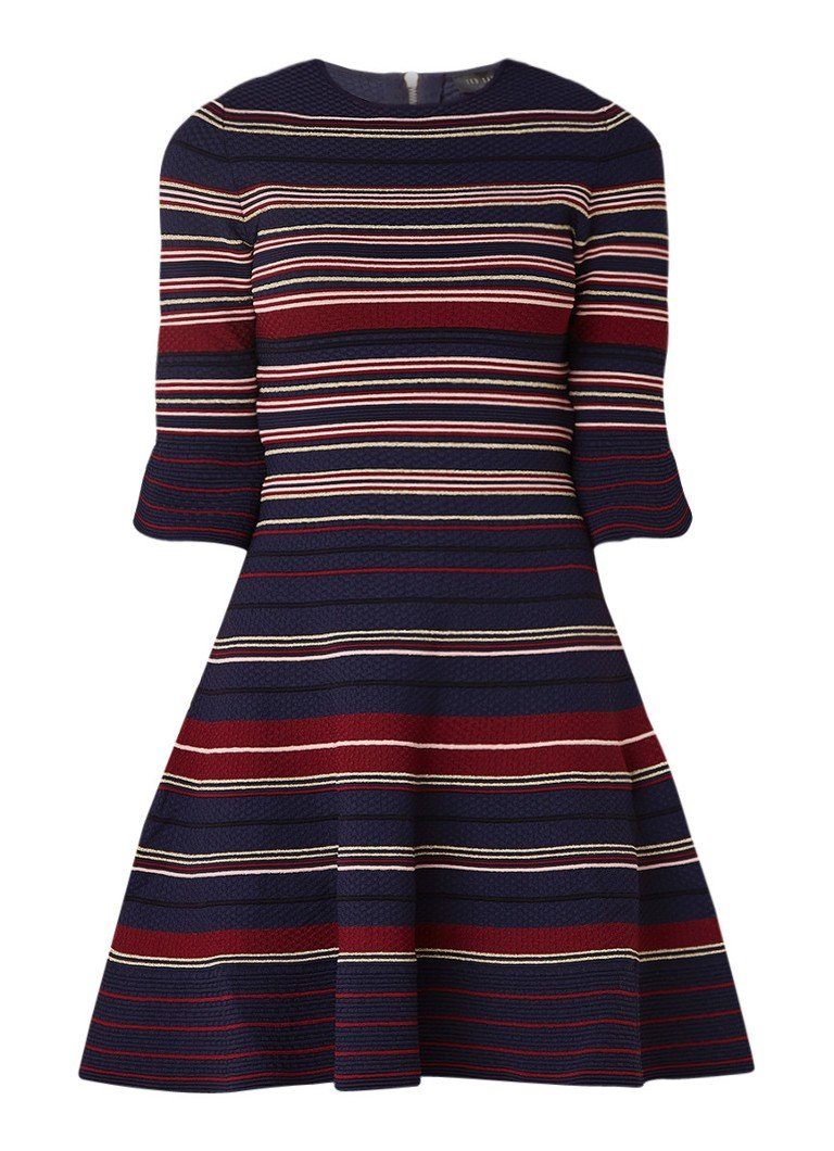 Ted Baker Tayiny A-lijn jurk met volantmouw en streepdessin donkerblauw