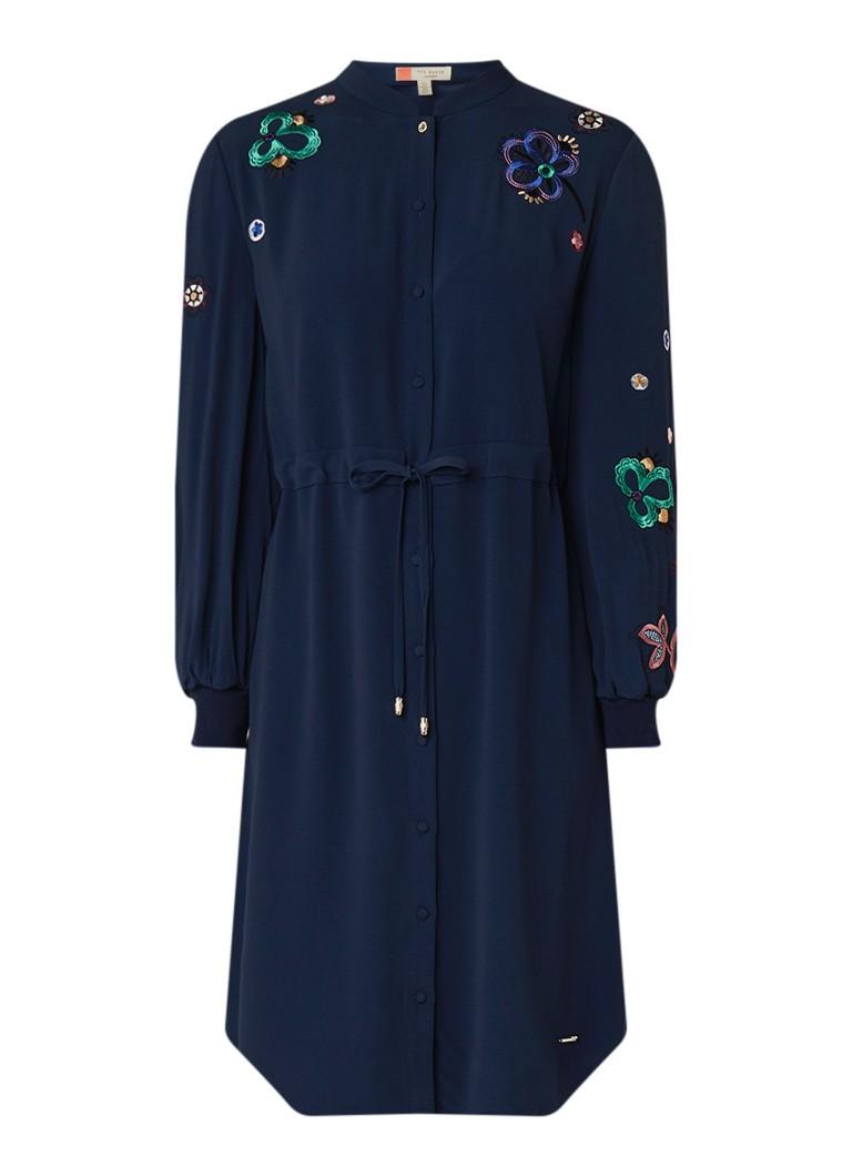 Ted Baker Dioss blousejurk met geborduurde bloemen donkerblauw
