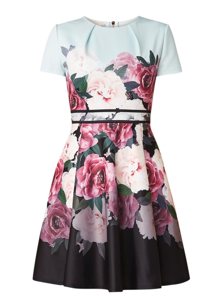 Ted Baker Wilmana A-lijn jurk van neopreen met bloemendessin mint