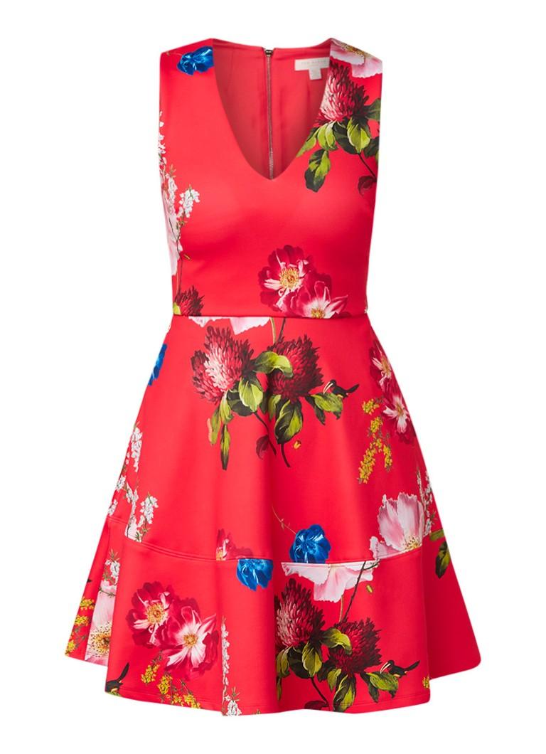 Ted Baker Kinle neopreen midi-jurk met bloemendessin rood