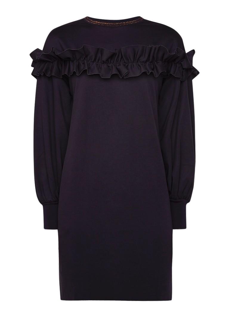 Ted Baker Loose fit jurk van satijn met ballonmouw en ruches donkerblauw