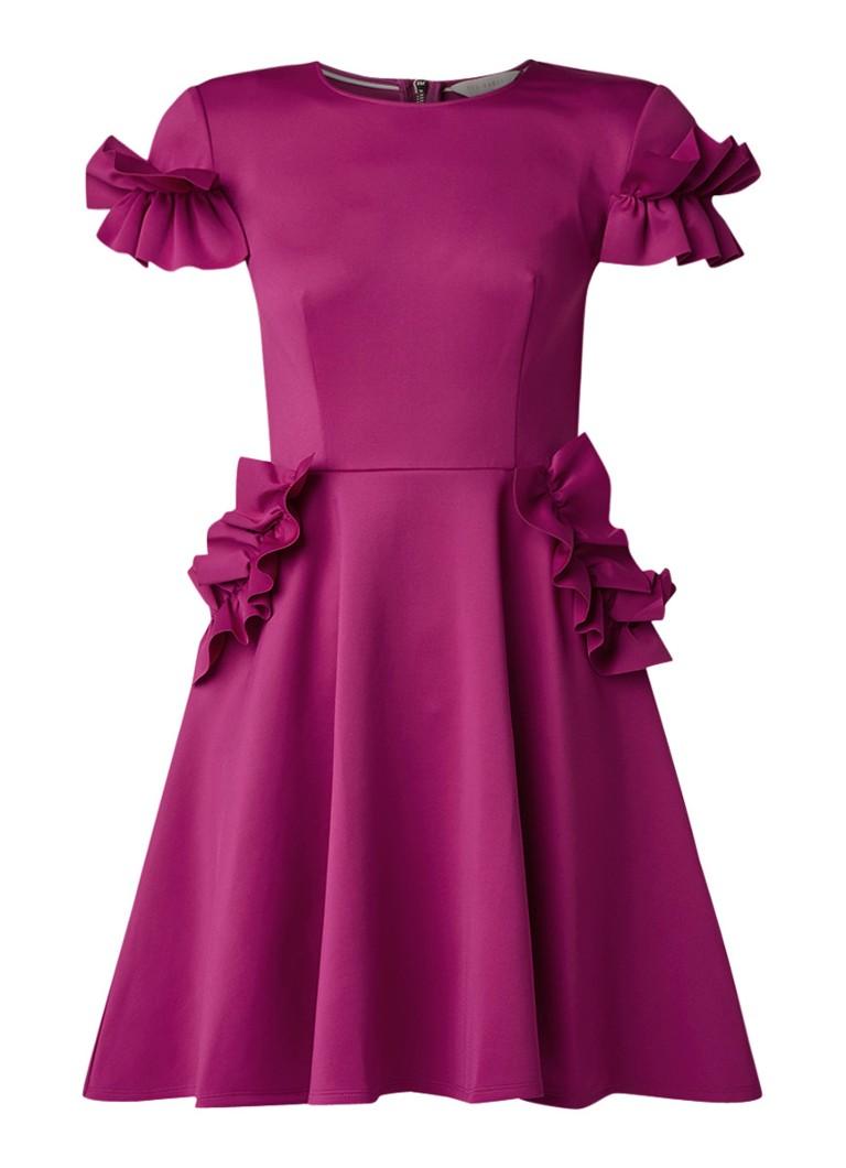 Ted Baker Luucie mini-jurk met ruches en steekzakken fuchsia