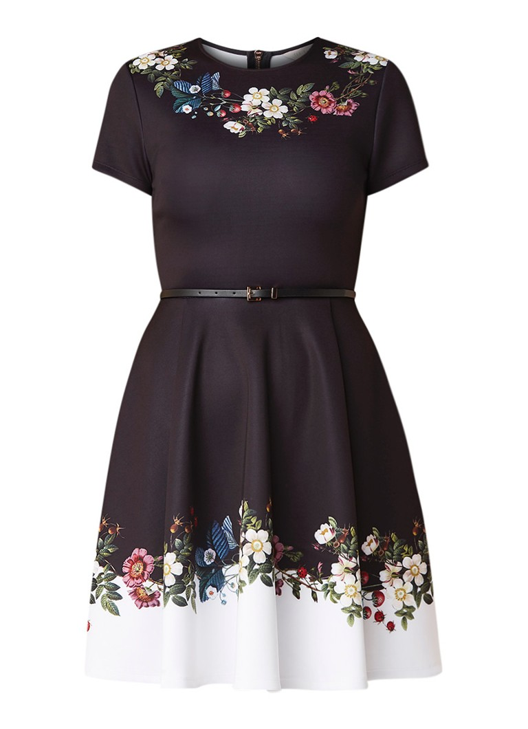 Ted Baker Chestna A-lijn jurk van neopreen met bloemendessin zwart