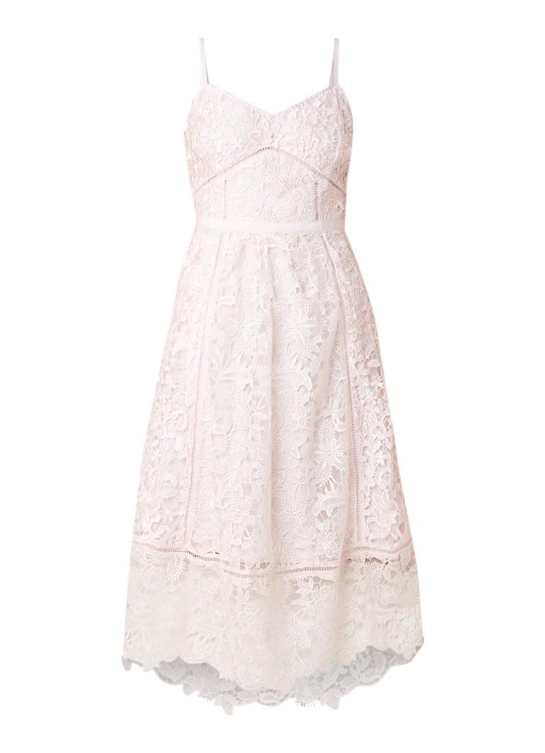 Ted Baker Valens midi-jurk van gebloemd kant lichtroze