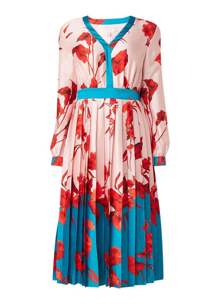 Ted Baker Karolyn A-lijn jurk met bloemendessin en plooien lichtroze