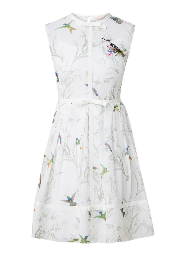 Ted Baker Aleksa semi-transparante midi-jurk met strikdetails wit