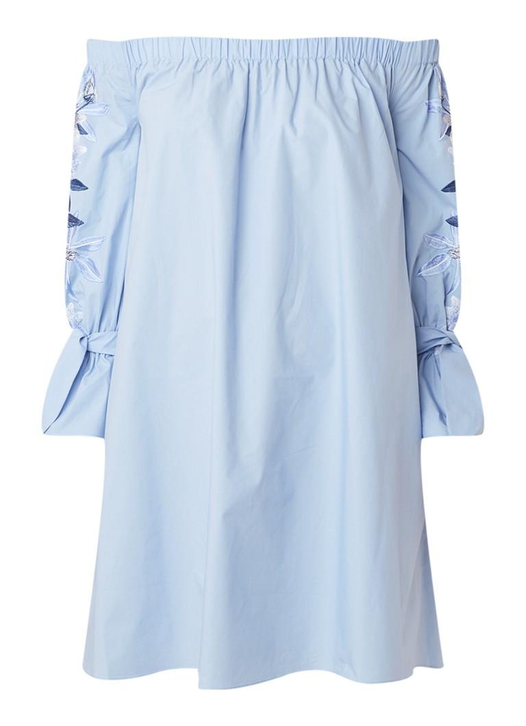 Ted Baker Julyett off shoulder mini-jurk met bloemenborduring lichtblauw
