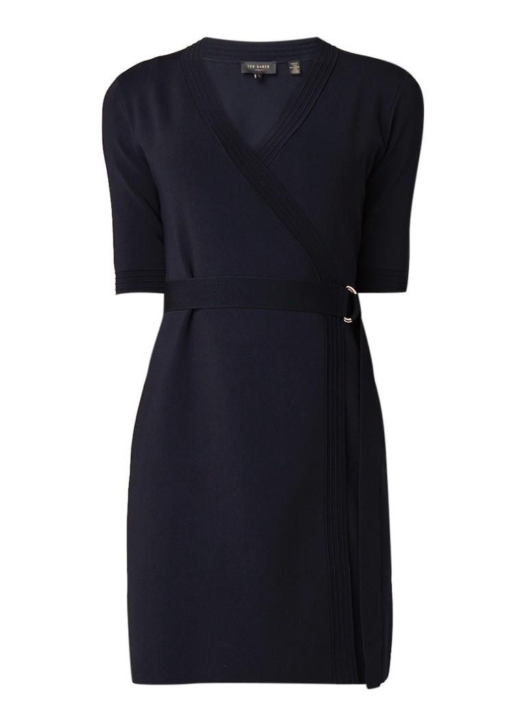Ted Baker Stefo fijngebreide mini-jurk met ceintuur donkerblauw