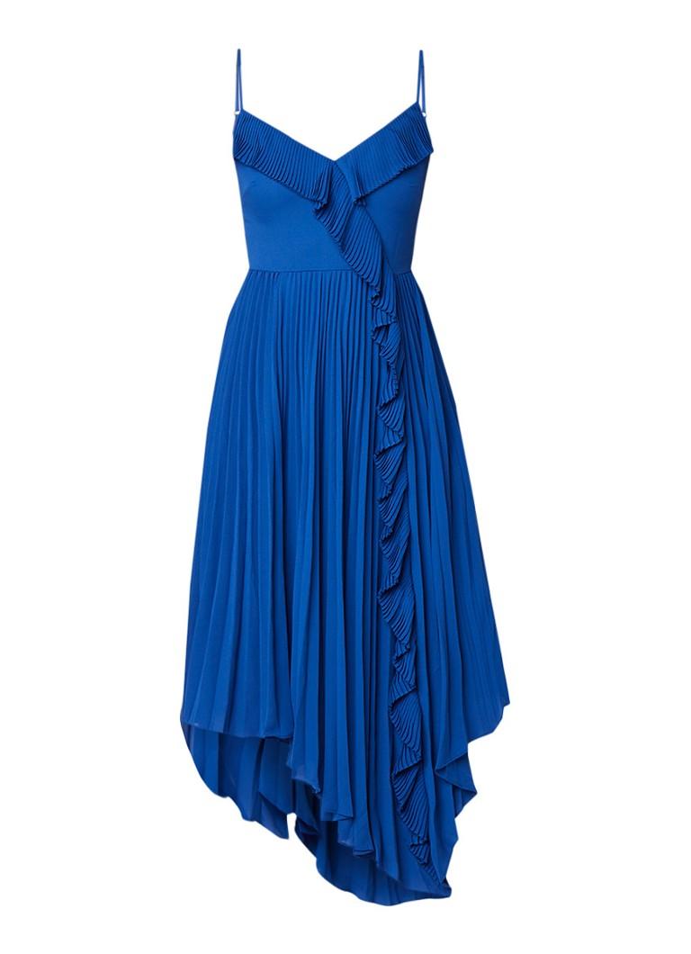 Ted Baker Kattyy midi-jurk met volant en plissè royalblauw
