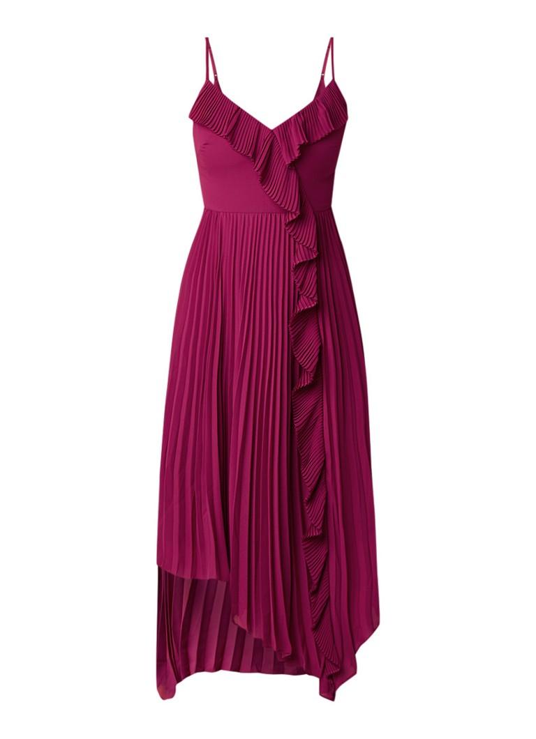 Ted Baker Kattyy midi-jurk met volant en plissè fuchsia
