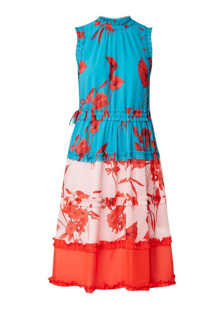 Ted Baker Camelis midi-jurk met ruches en bloemendessin multicolor