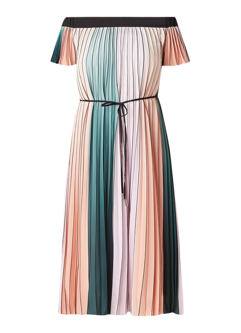 Ted Baker Fernee off shoulder jurk met plissé en colour blocking lila