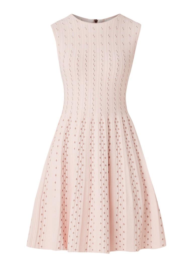 Ted Baker Vellia fijngebreide A-lijn jurk met lurex lichtroze