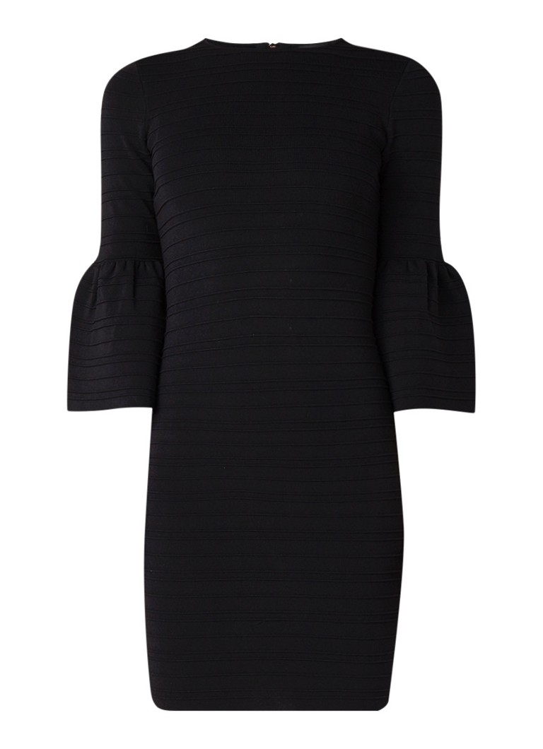 Ted Baker Yansiaa bodycon mini-jurk met trompetmouw zwart