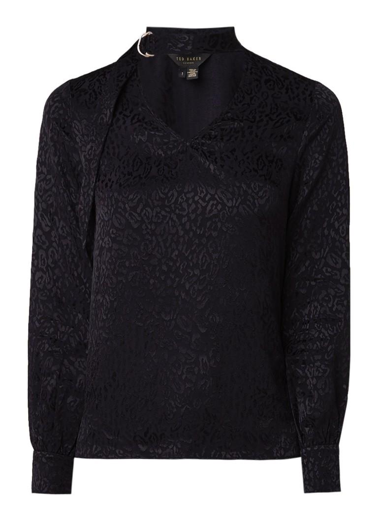 Image of Ted Baker Maybela blouse met ingeweven luipaarddessin met glanzende finish