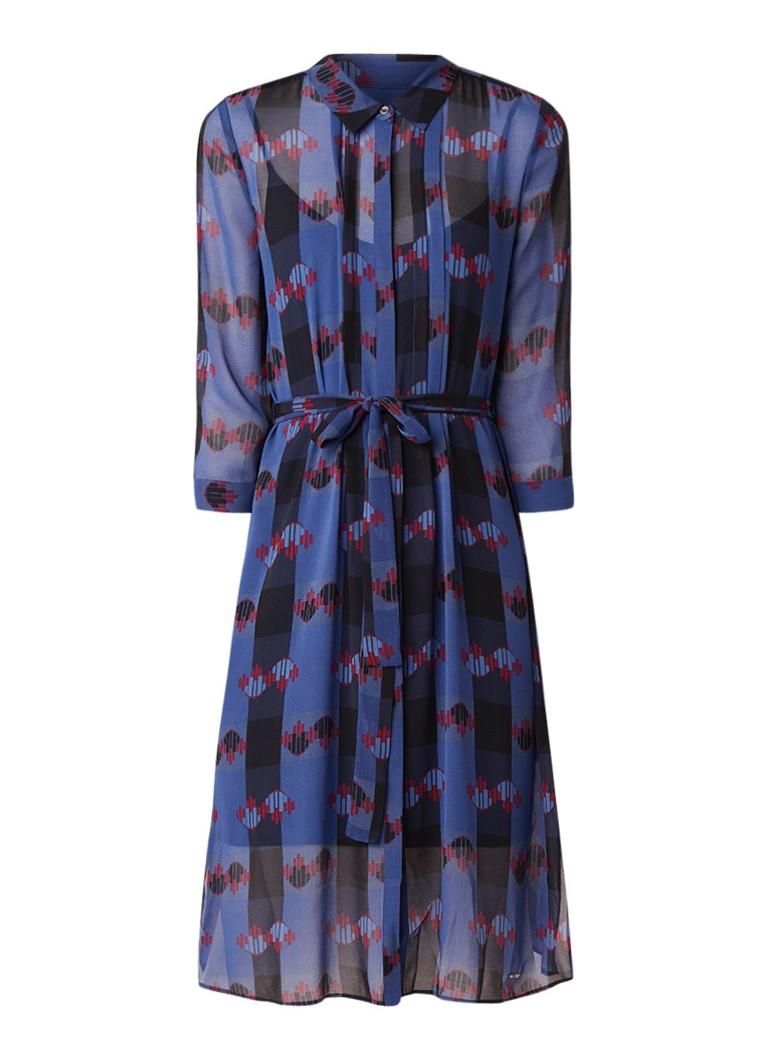 Ted Baker Laven semi-transparante blousejurk met dessin blauw