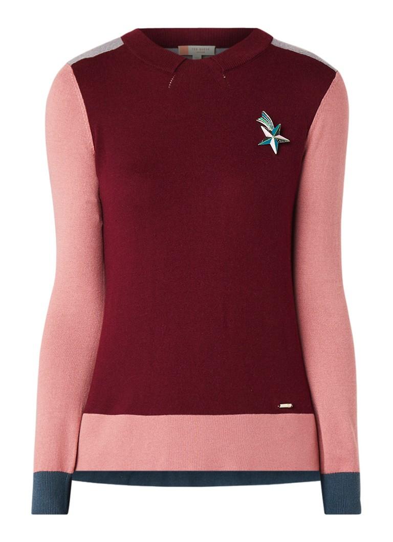 Ted Baker Esmeia pullover met colour blocking en broche
