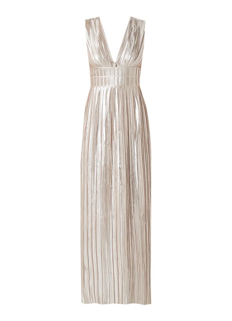 Ted Baker Aleccia maxi-jurk met plissé en metallic finish zilver