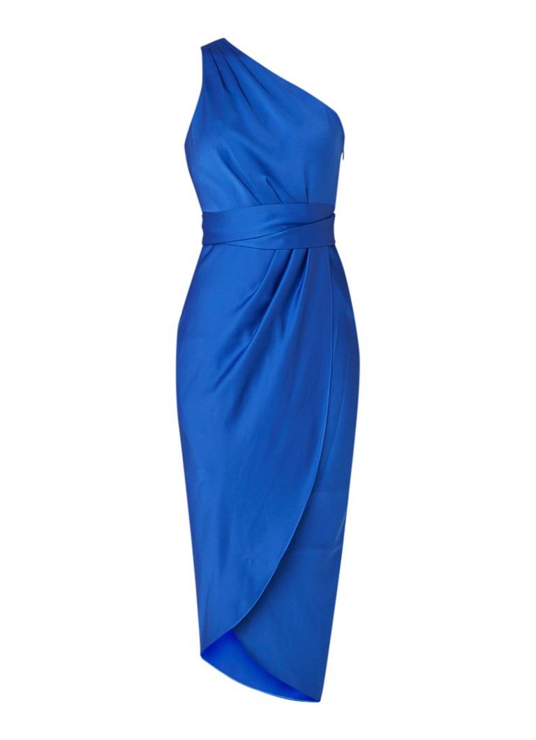 Ted Baker Gabie one shoulder jurk van satijn met strikceintuur blauw