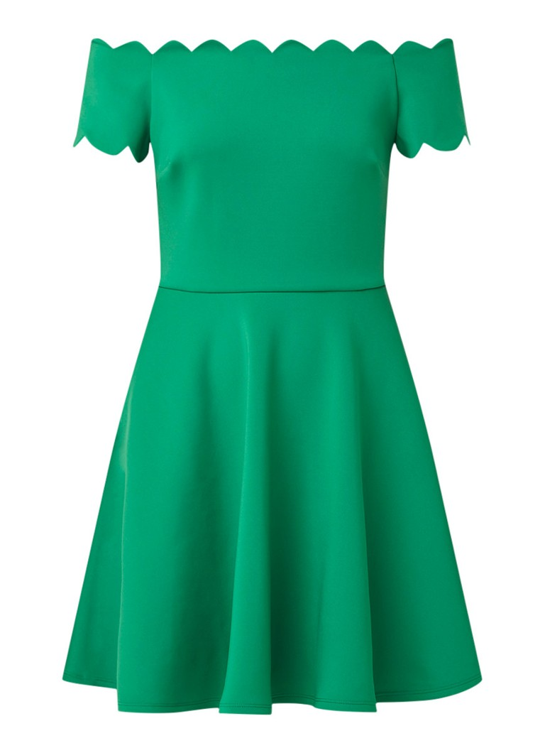 Ted Baker Fellama off shoulder A-lijn jurk met steekzakken groen