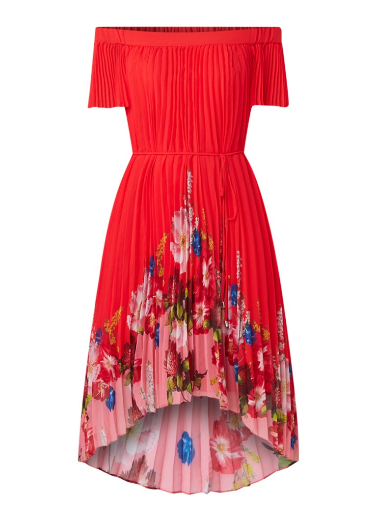 Ted Baker Gillyy off shoulder midi-jurk met bloemendessin rood