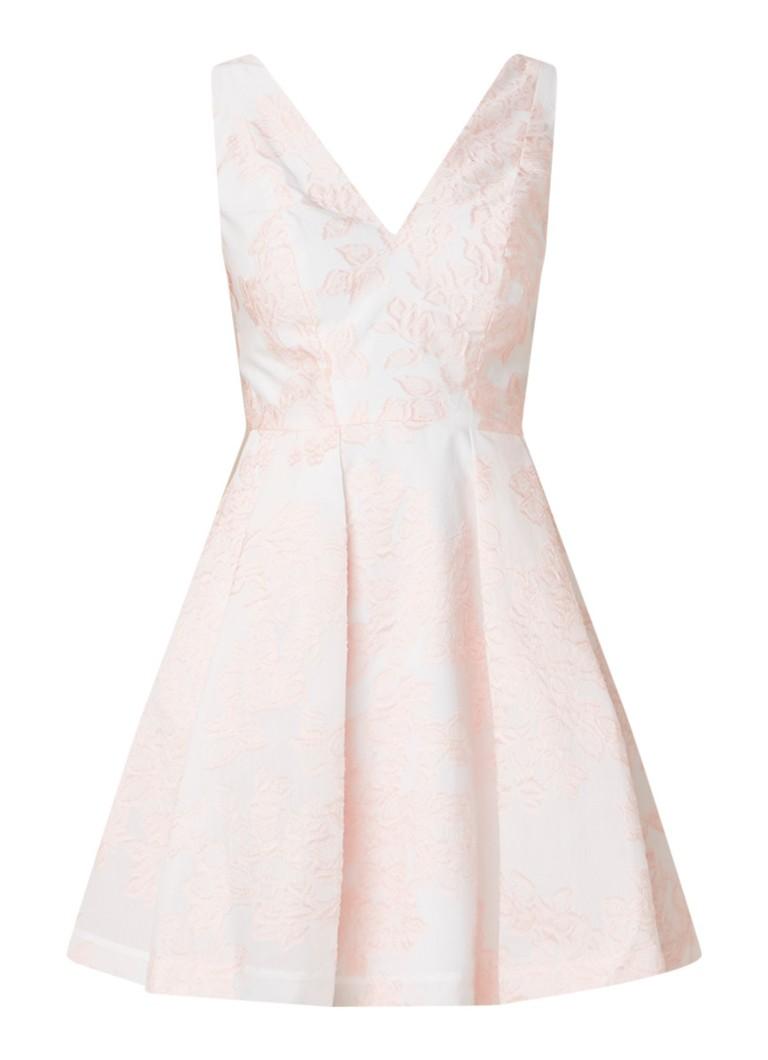 Ted Baker Leianna A-lijn jurk met jacquard dessin lichtroze