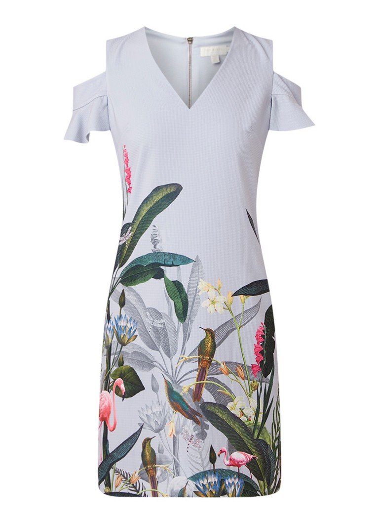 Ted Baker Emerry midi-jurk met cold shoulder en bloemenprint lichtblauw