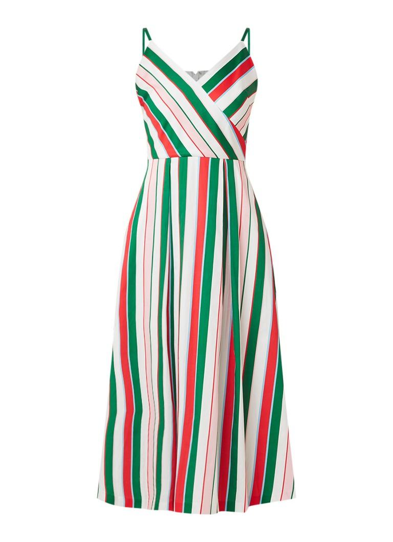 Ted Baker Noriie A-lijn jurk van katoen met streepdessin groen