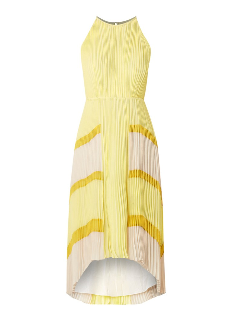 Ted Baker Nellina plissé jurk met streepdetail geel