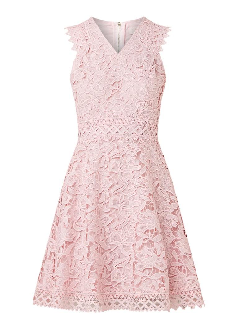 Ted Baker Beniel mouwloze mini-jurk van kant lichtroze
