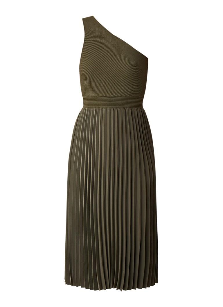 Ted Baker Miriom one shoulder midi-jurk met plissé legergroen