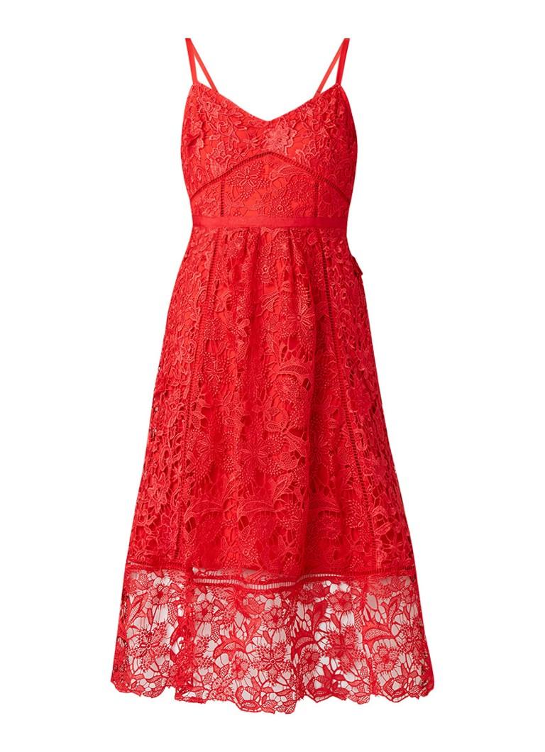 Ted Baker Valens midi-jurk van gebloemd kant vuurrood