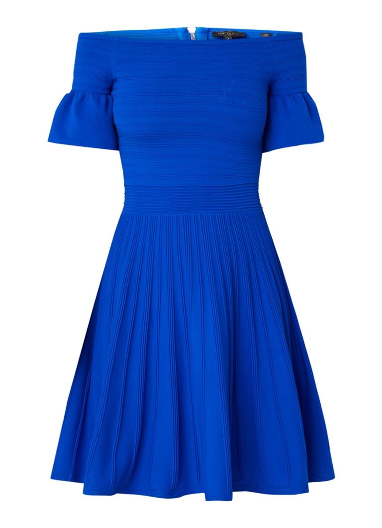 Ted Baker Criptum off-shoulder jurk met ingebreid streepdessin royalblauw