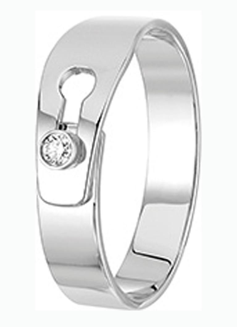 Sieraden dinh van Serrure ring van witgoud met diamant 235212 Witgoud