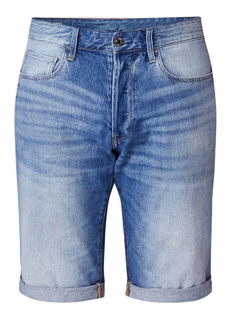 G-Star RAW 3301 high rise slim fit denim shorts met faded look