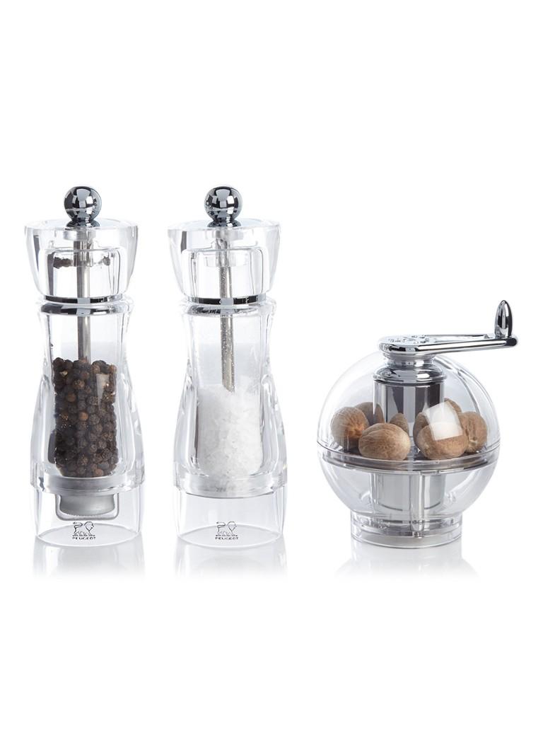 Peugeot Peper- en zoutmolen met nootmuskaatmolen 3-delig